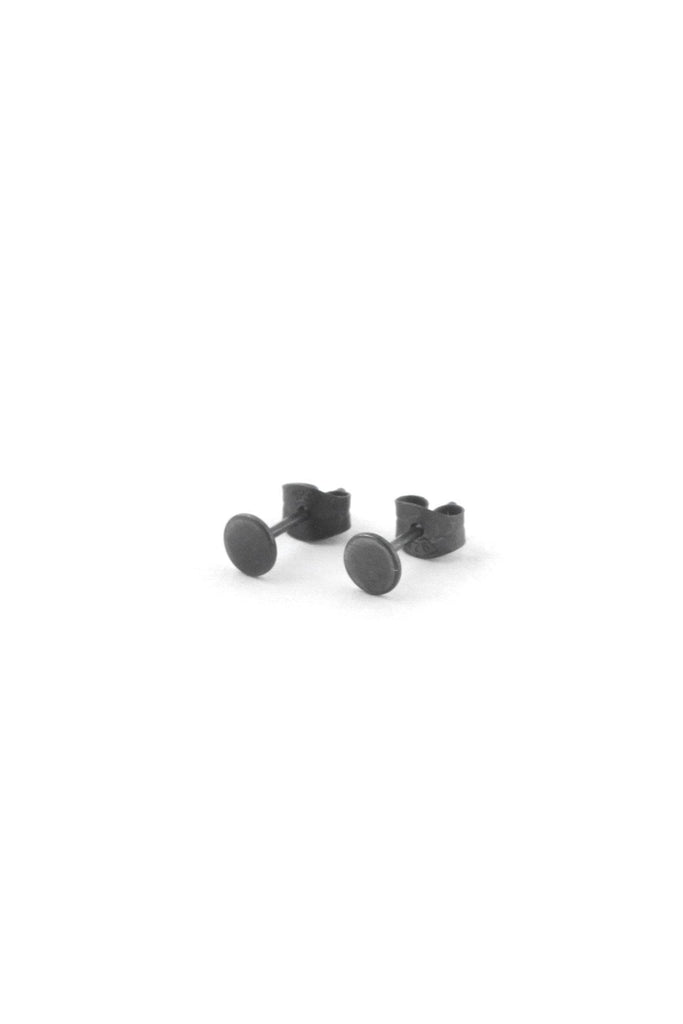 Dark Oxidized Round Recycled Sterling Silver Tiny Ear Studs