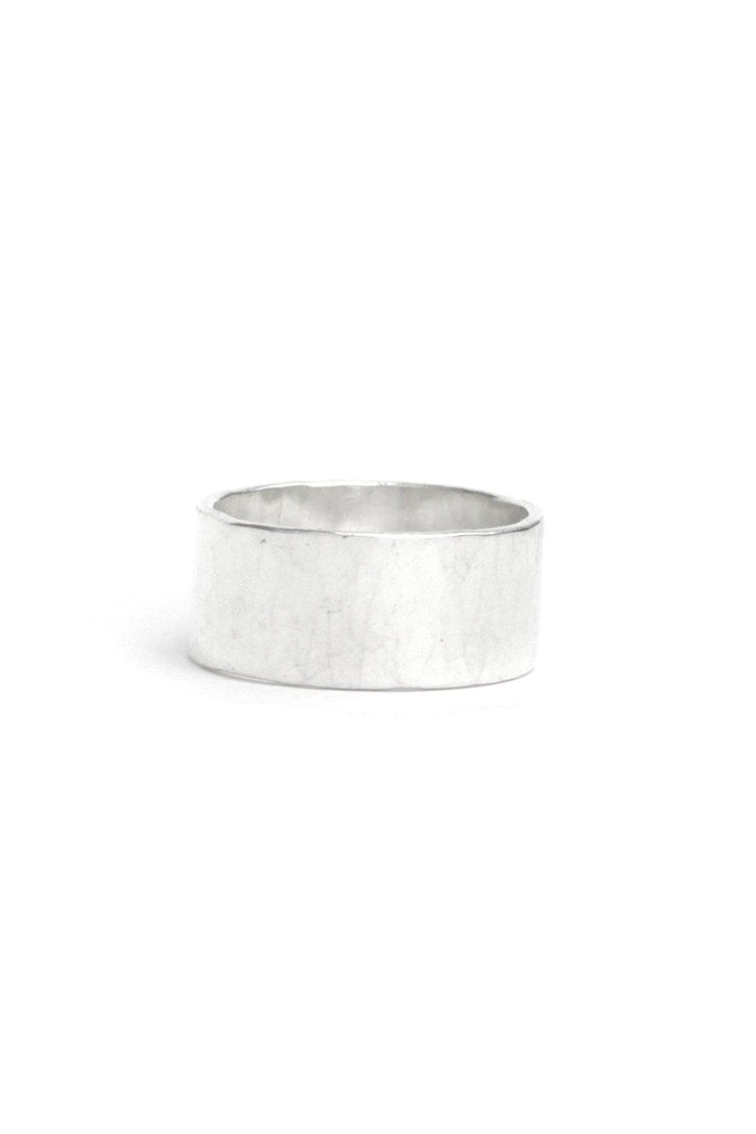 Wide Hammered Recycled Sterling Silver Ring