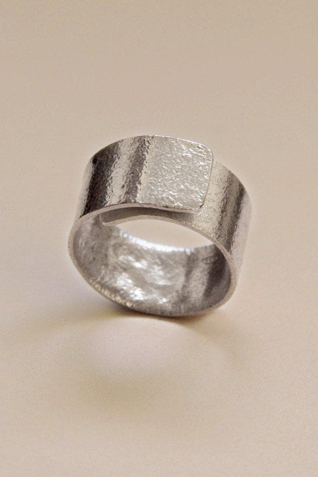 Sculpted Overlay Recycled Sterling Silver Ring