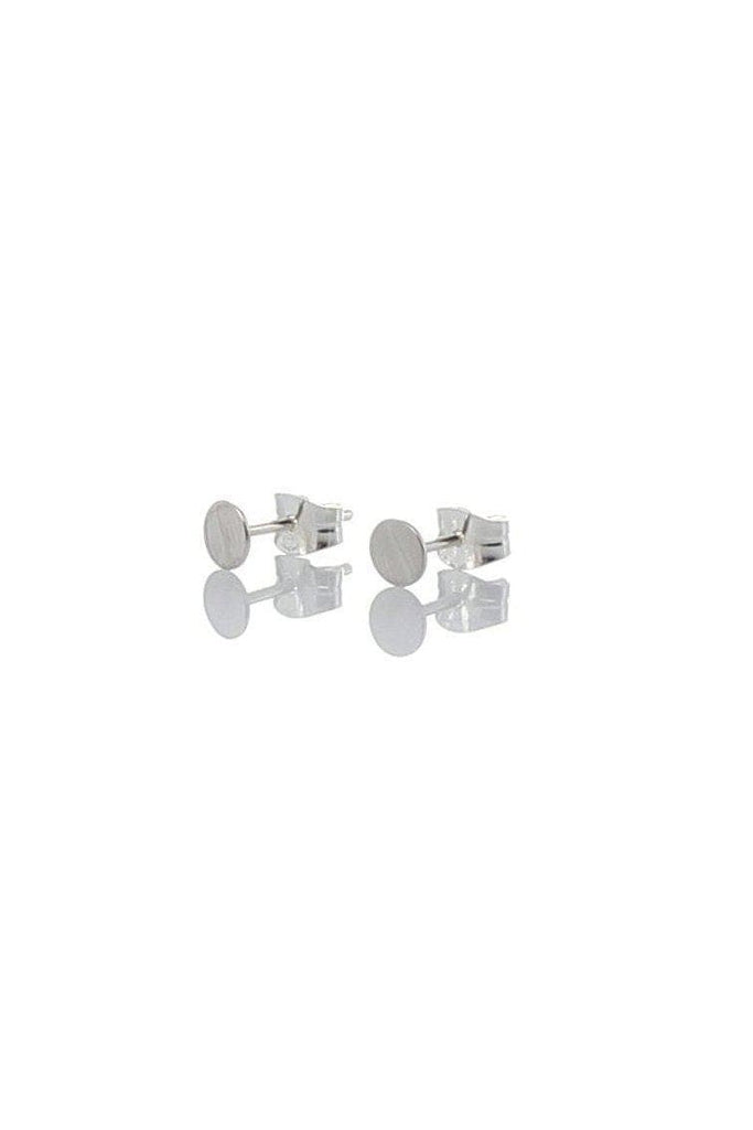 Round Tiny Recycled Sterling Silver Ear Studs in Matte Silver
