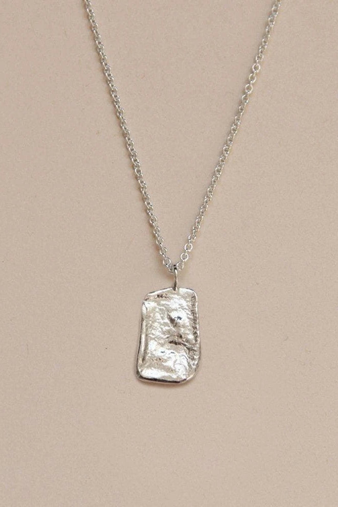 Sculpted Textured Recycled Sterling Silver Necklace