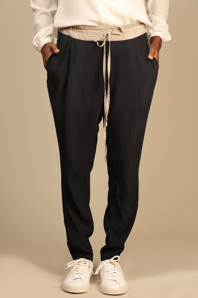 Beck Ethical Silk Crepe Trousers in Black