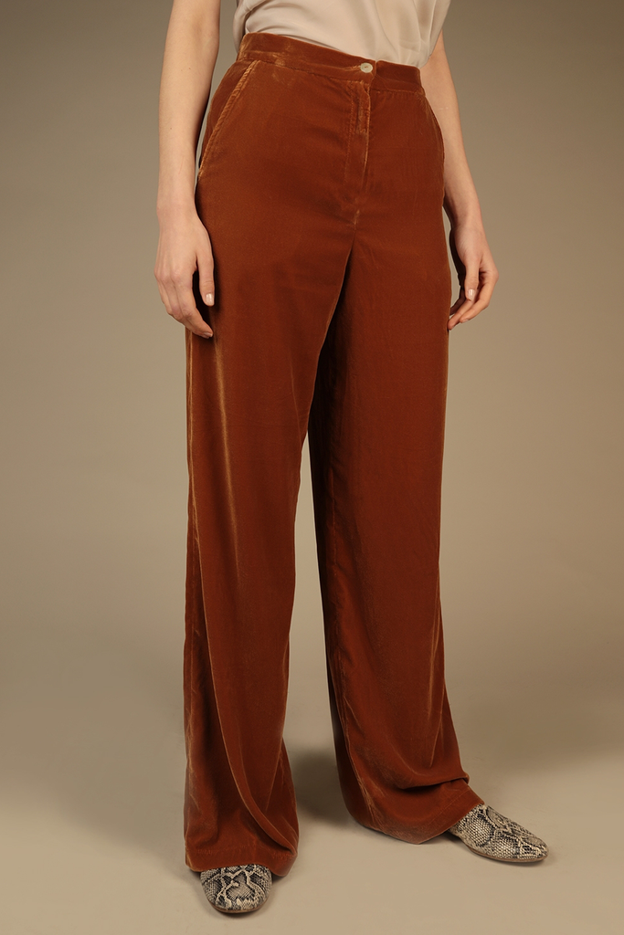 70's Ethical Silk Velvet Trousers in Cinnamon