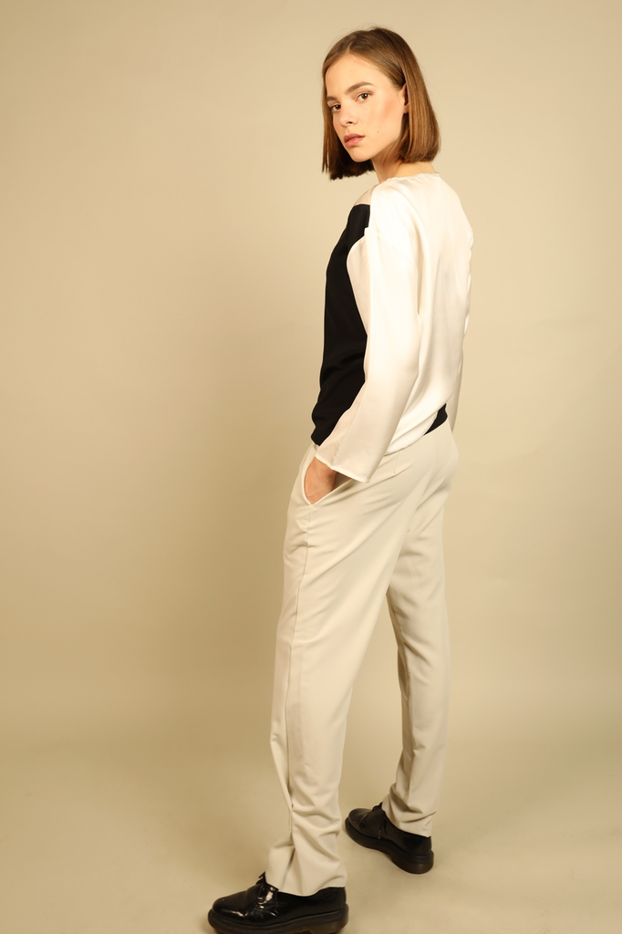 Alexis Ethical Trousers in Oat Beige