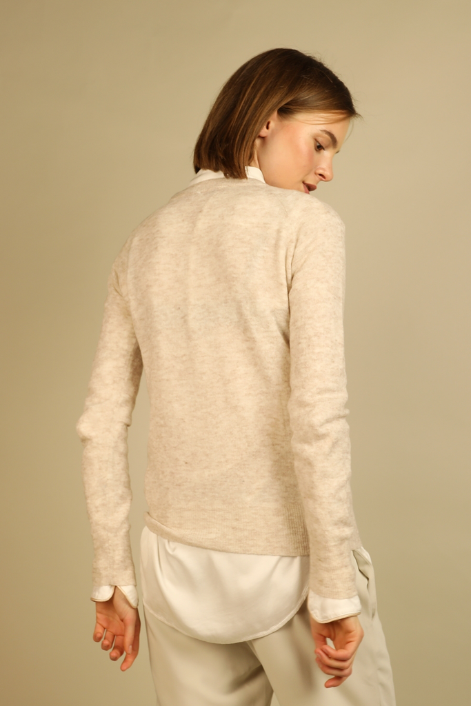 Ethical Merino Wool Blouse in Beige