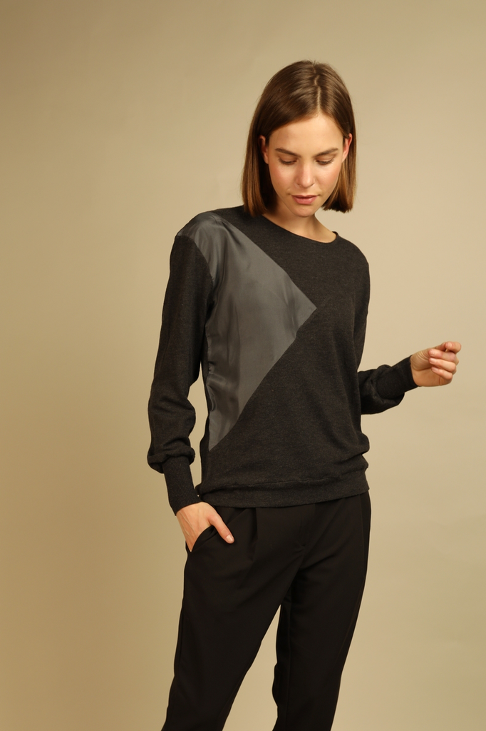 Alice Ethical Alpaca & Wool Blouse in Dark Grey
