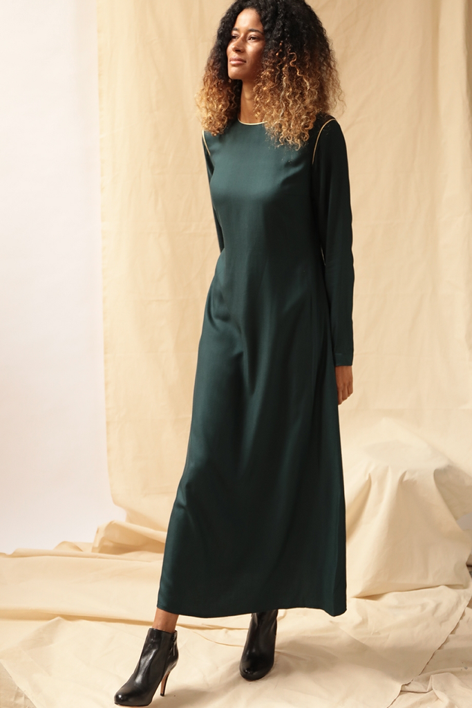 Stella Ethical Viscose Cupro Dress in Deep Green