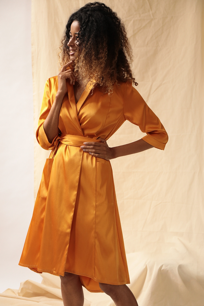 Seline Ethical Viscose Dress in Orange