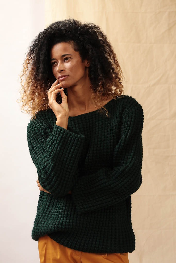 Yasmin Ethical Wool Sweater in Deep Green