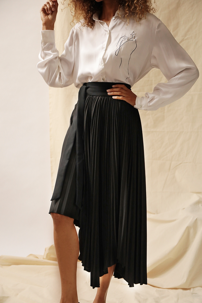 Tara Recycled Skirt in Black