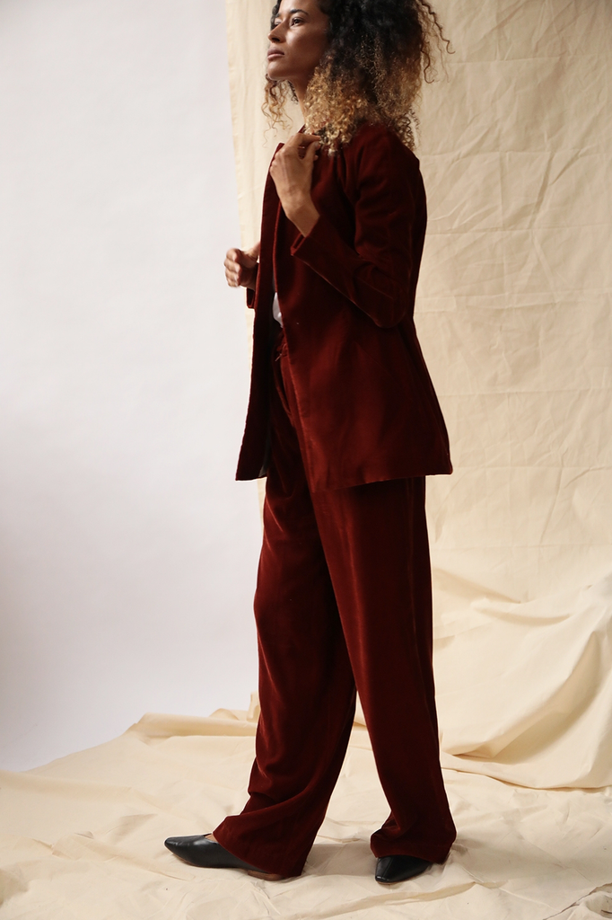 Zaria Ethical Velvet Suit in Bordeaux