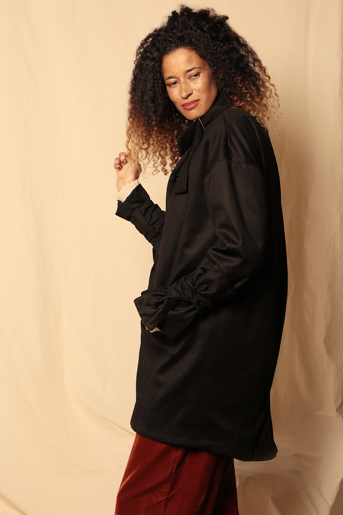 Y-wool Ethical Wool Coat in Black