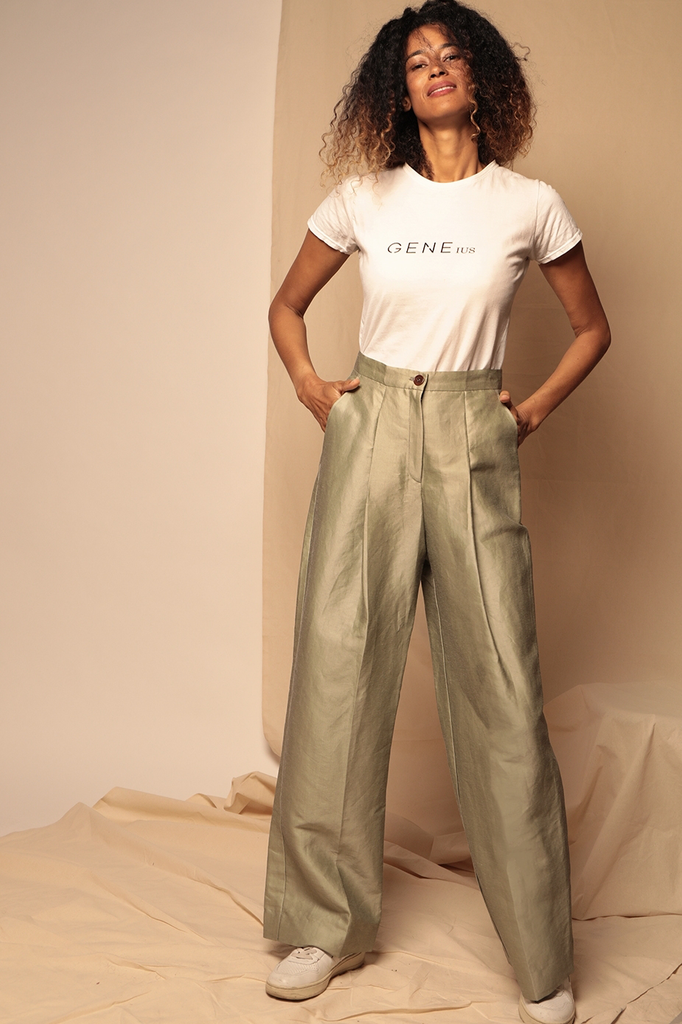 Paige Ethical Silk & Linen Trousers in Sage Green