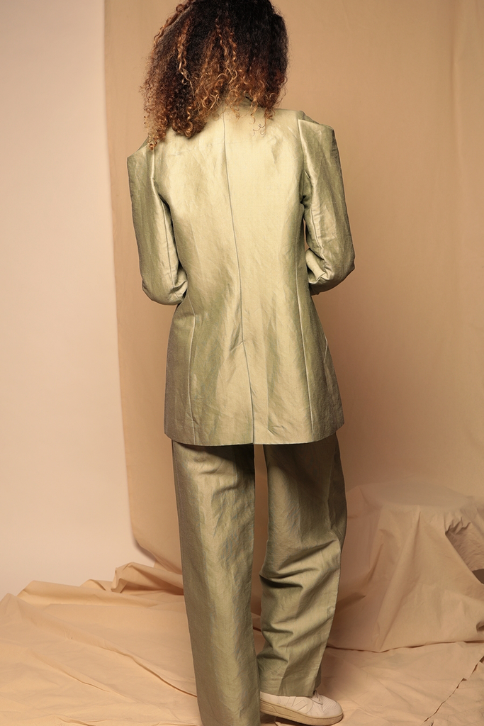 Paige Ethical Silk & Linen Suit in Sage Green