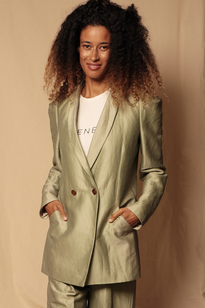 Tabia Ethical Silk & Linen Blazer in Sage Green