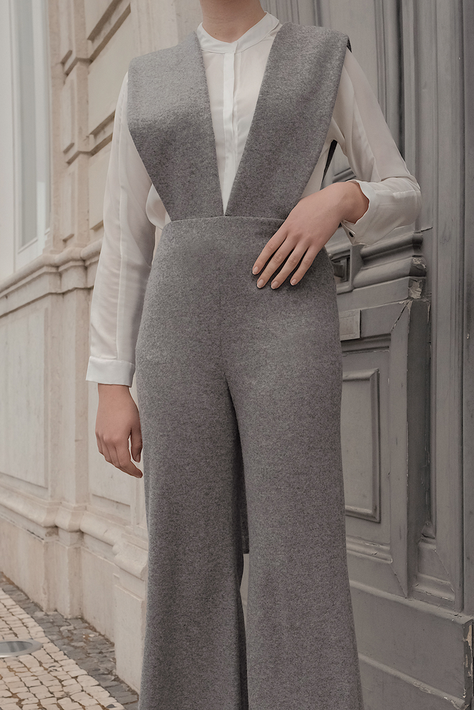 Phoebe Ethical Wool&Cashmere Jumpsuit in Gray