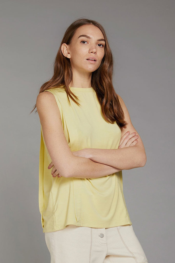 Alice Vegan Bamboo Top in Yellow Straw