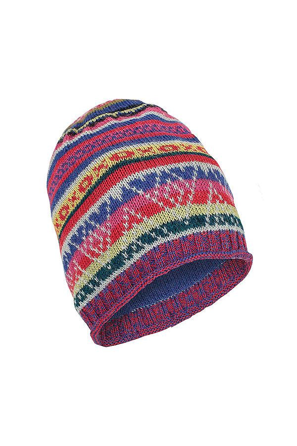 Cuzco Handmade Alpaca Beanie in Colorful Pattern