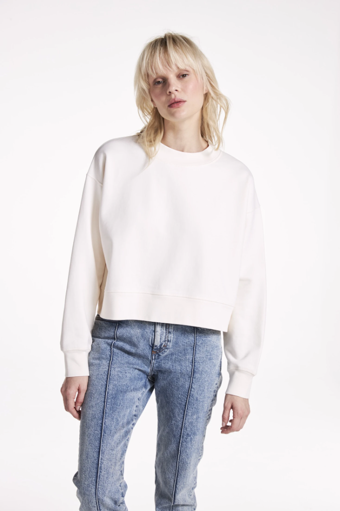 The Cropped Organic Cotton Sweater in Powder