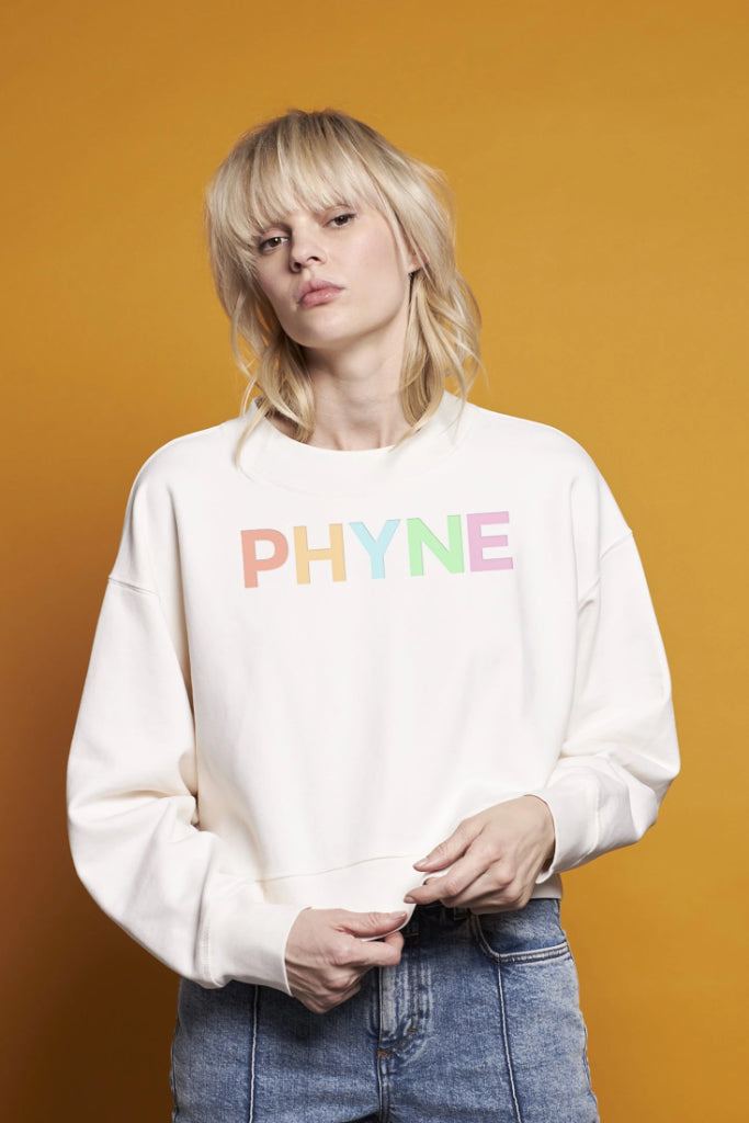 The Cropped Phyne Organic Cotton Sweater in Powder