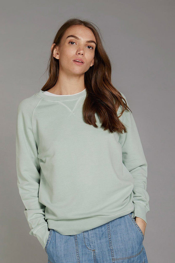 Anton Crest Organic Cotton Women's Sweater in Mineral Green