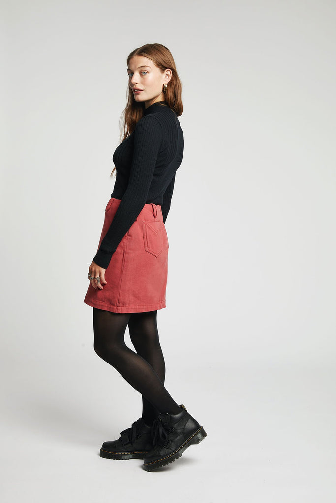 Pia Organic Cotton Mini Skirt in Dusky Cedar