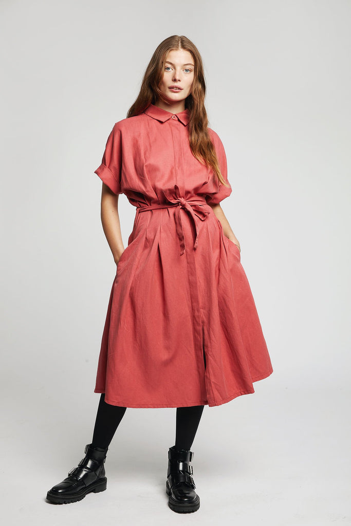 Ashes Vegan Tencel & Linen Kimono Wrap Dress in Pepper Red