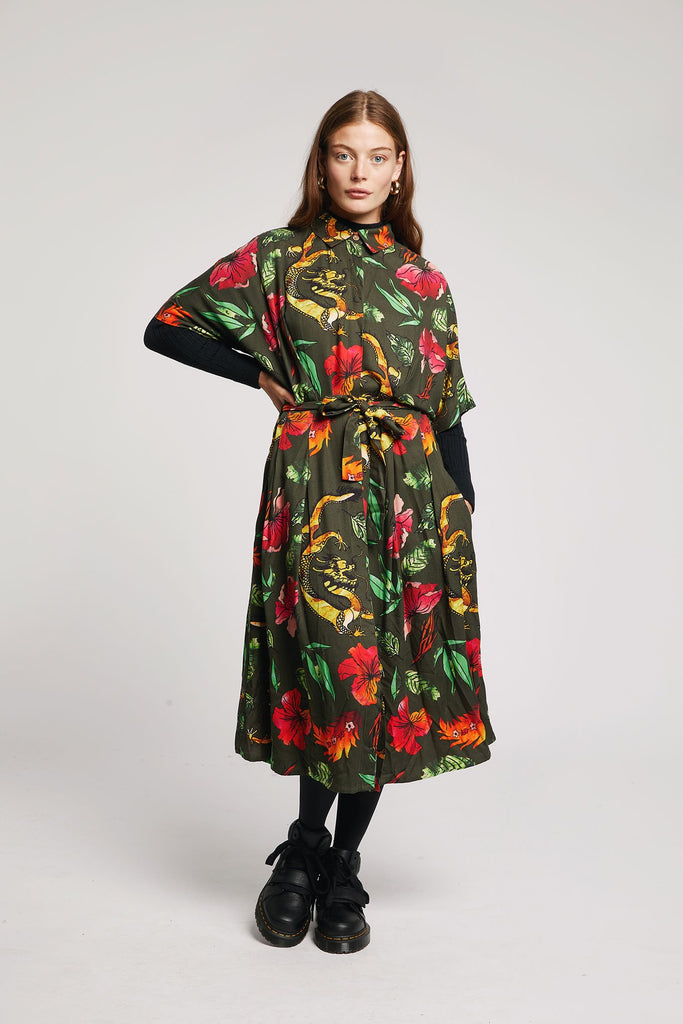 Ashes Vegan Rayon Kimono Wrap Dress in Himalaya Print