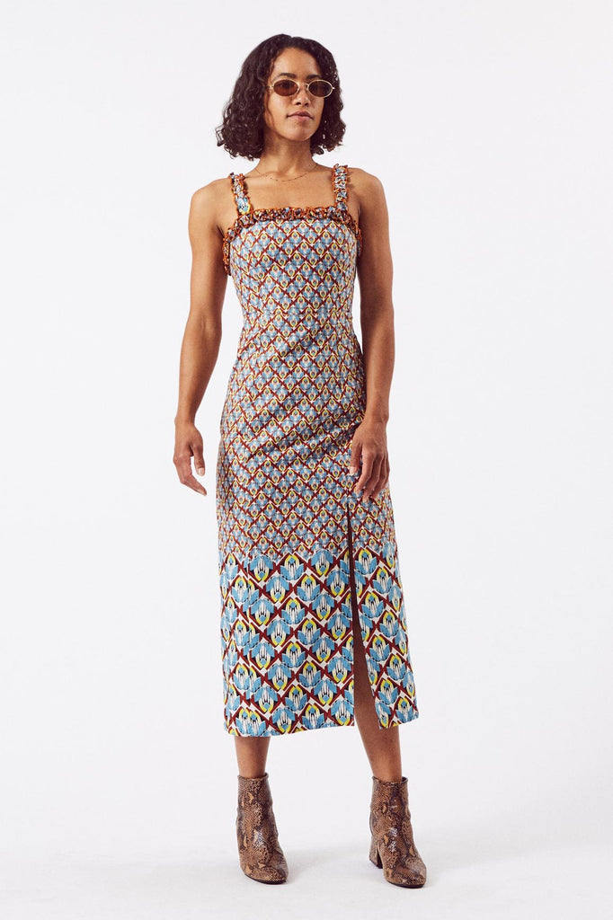 Sustainable Cotton Frill Midi Dress in Wings Print