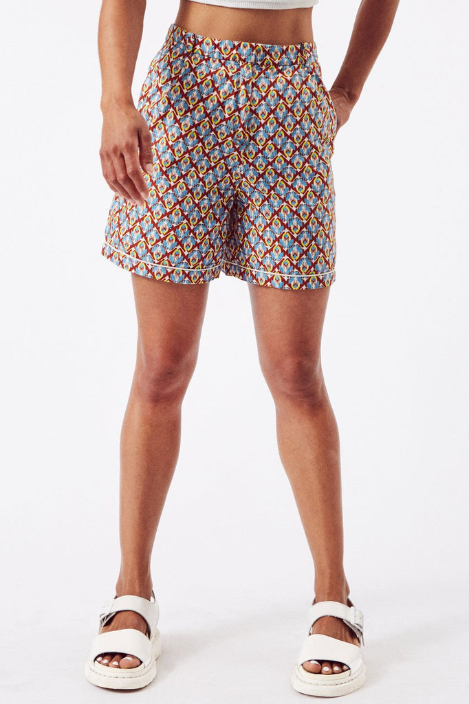 Sustainable Cotton Shorts in Blue & Brown Print
