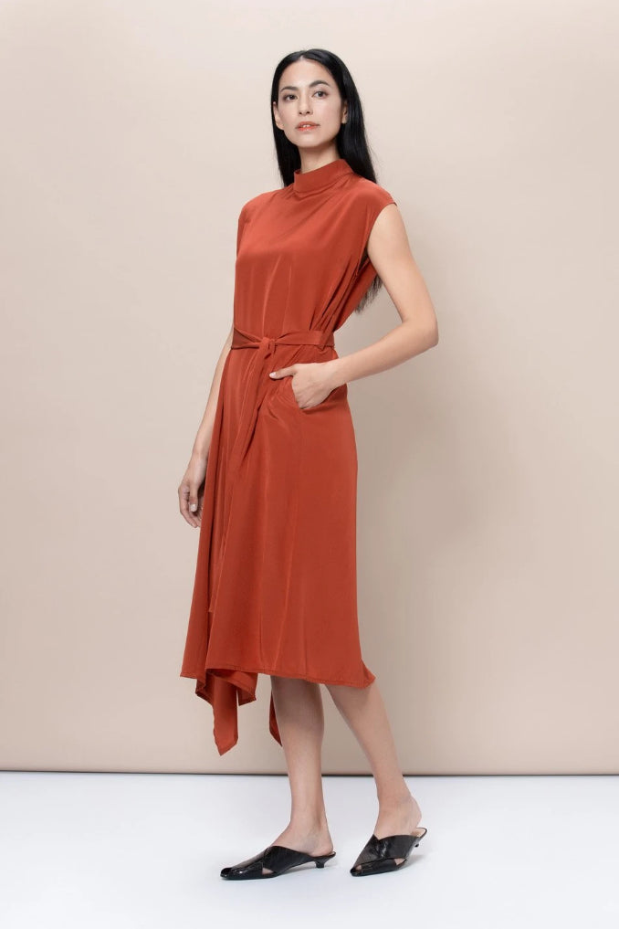 Aldgate Upcycled Silk Dress in Red
