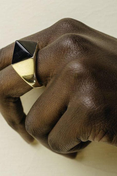 Aneko Recycled Brass and Horn Pyramid Ring