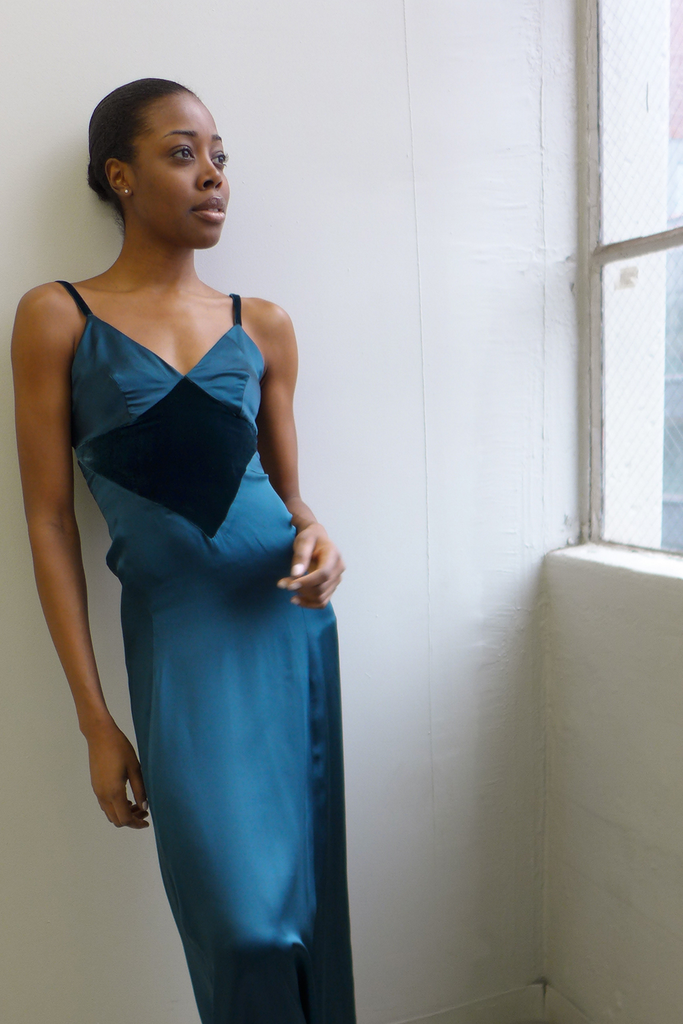 Amina Pure Silk Slip Dress in Blue