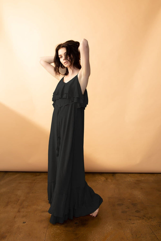 Cassiopeiae Silk Crepe Maxi Dress in Black