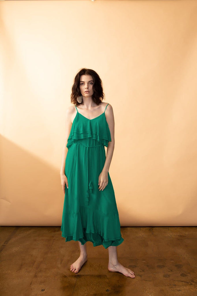 Cassiopeiae Silk Crepe Midi Dress in Cadmium Green