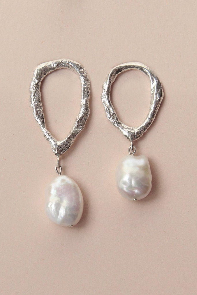 Asymmetric Drop Pearl Recycled Sterling Silver Earrings