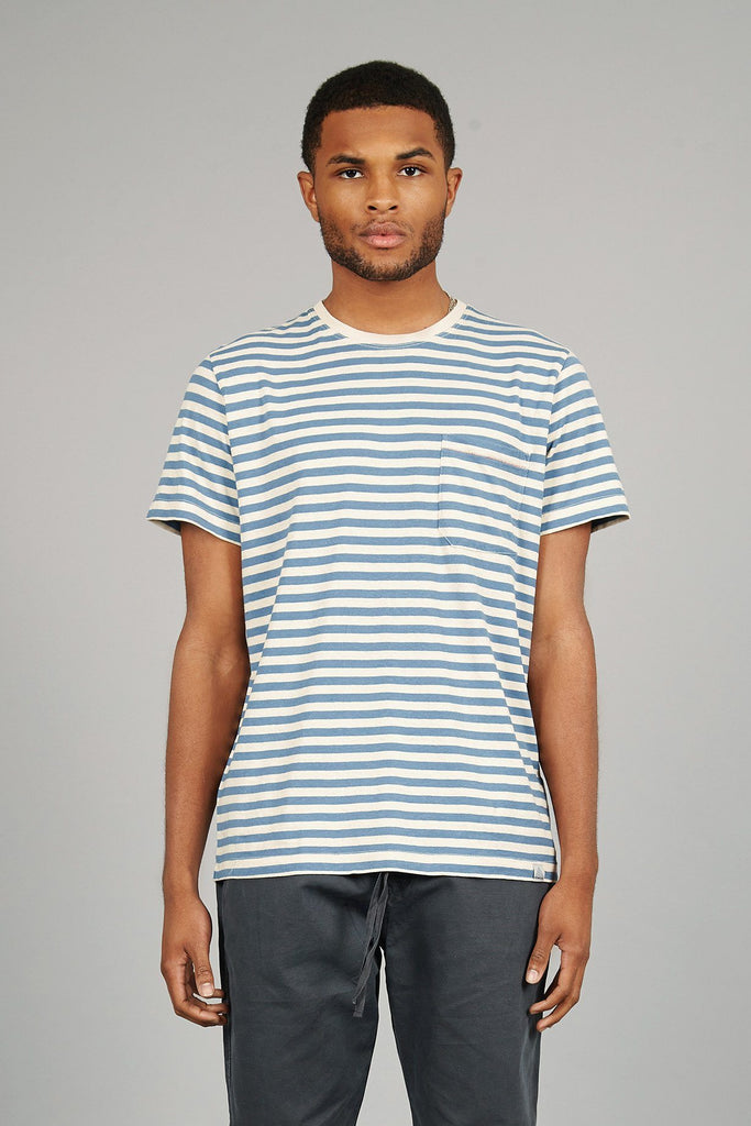 Barefoot Organic Hemp & Cotton T-shirt in Blue & White Stripe