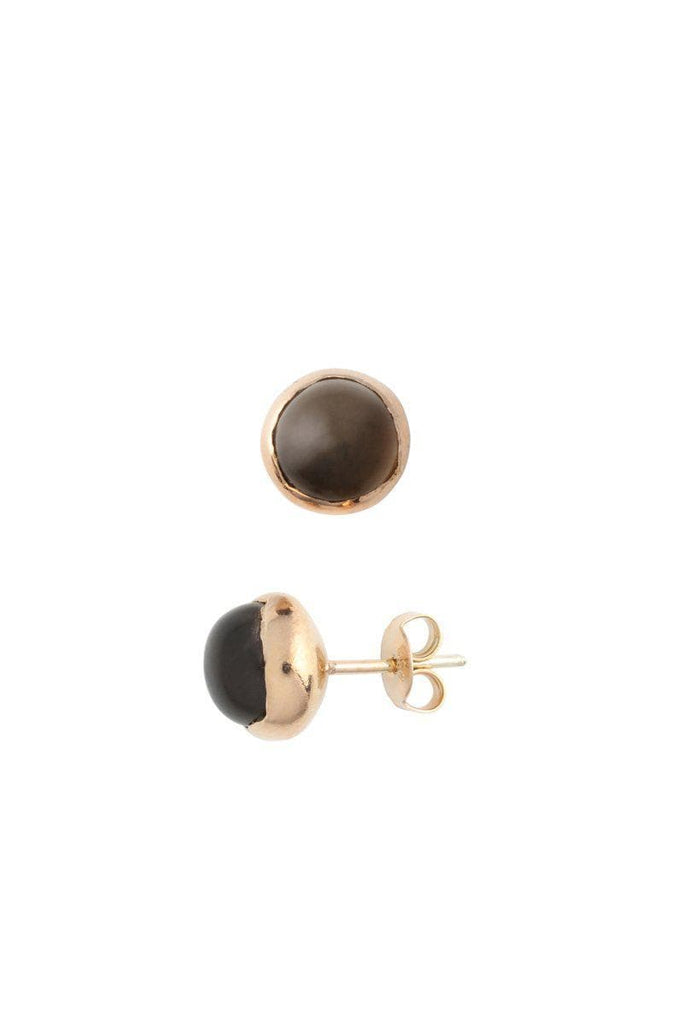 Blossom Recycled Rose Gold Plated Silver Earrings - Smoky Quartz