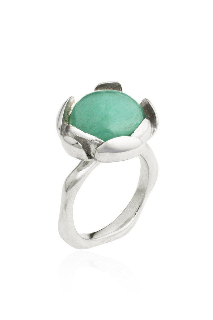 Blossom Recycled Silver Ring - Green Aventurine