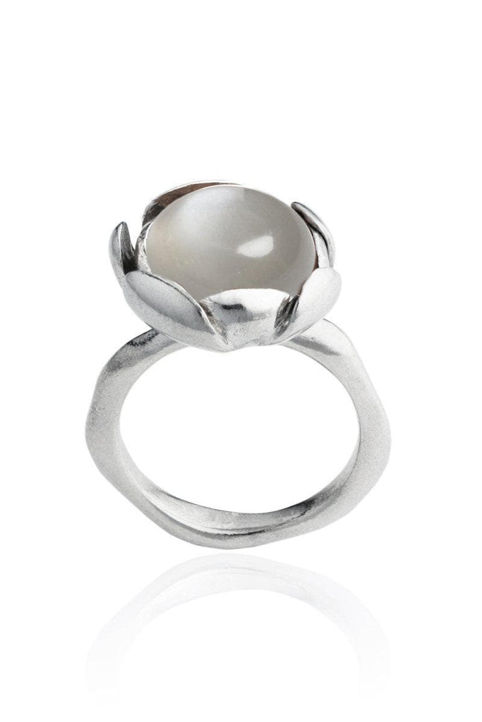 Blossom Recycled Silver Ring - Grey Moonstone