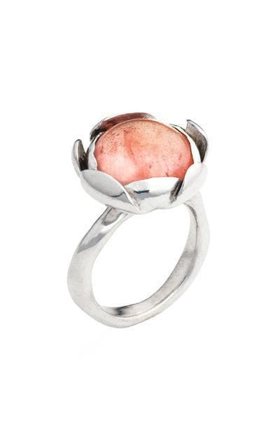 Blossom Recycled Silver Ring - Rose Agate