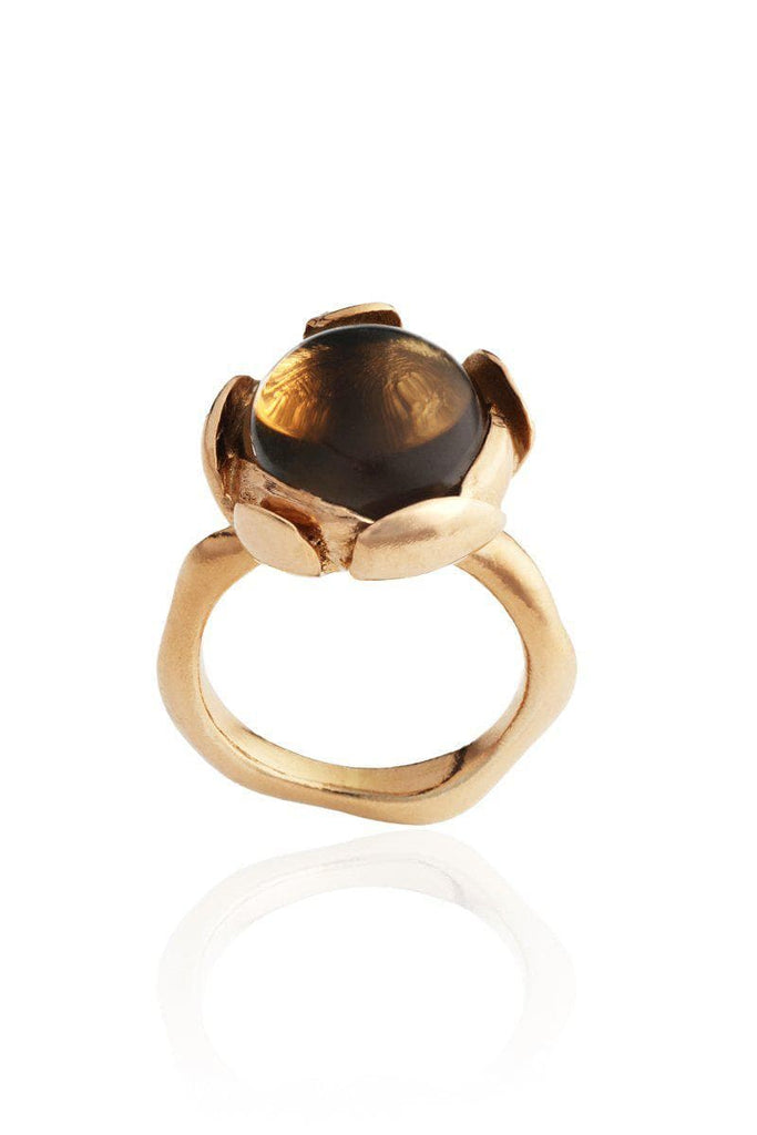 Blossom Recycled Rose Gold Plated Silver Ring - Smoky Quartz