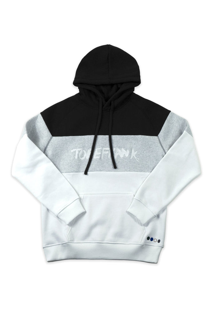 Ellis Contrast Recycled Cotton & Polyester Unisex Hoodie in White & Gray & Black