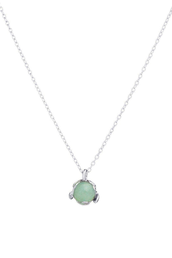 Blossom Recycled Silver Pendant - Green Aventurine