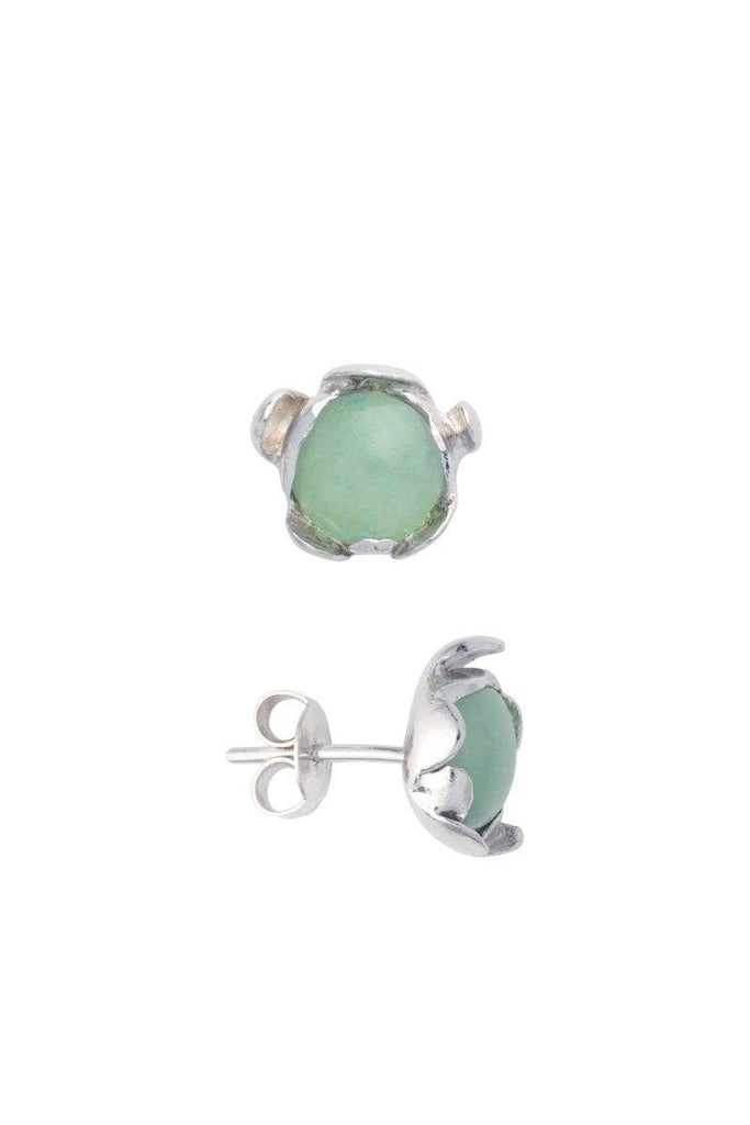 Blossom Recycled Silver Stud Earrings - Green Aventurine