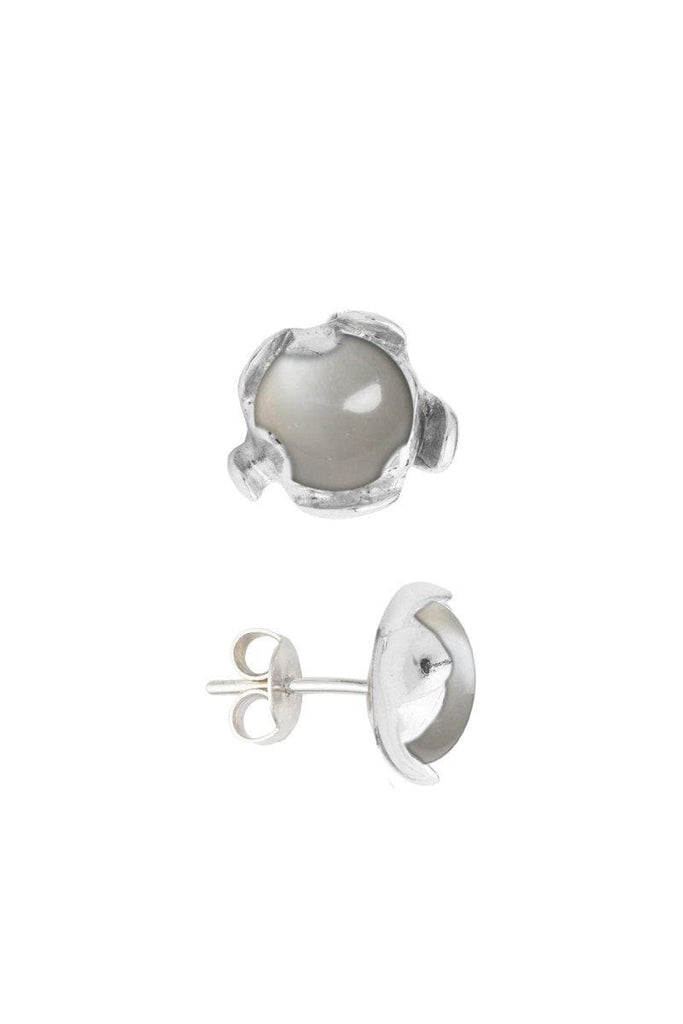 Blossom Recycled Silver Earrings - Grey Moonstone