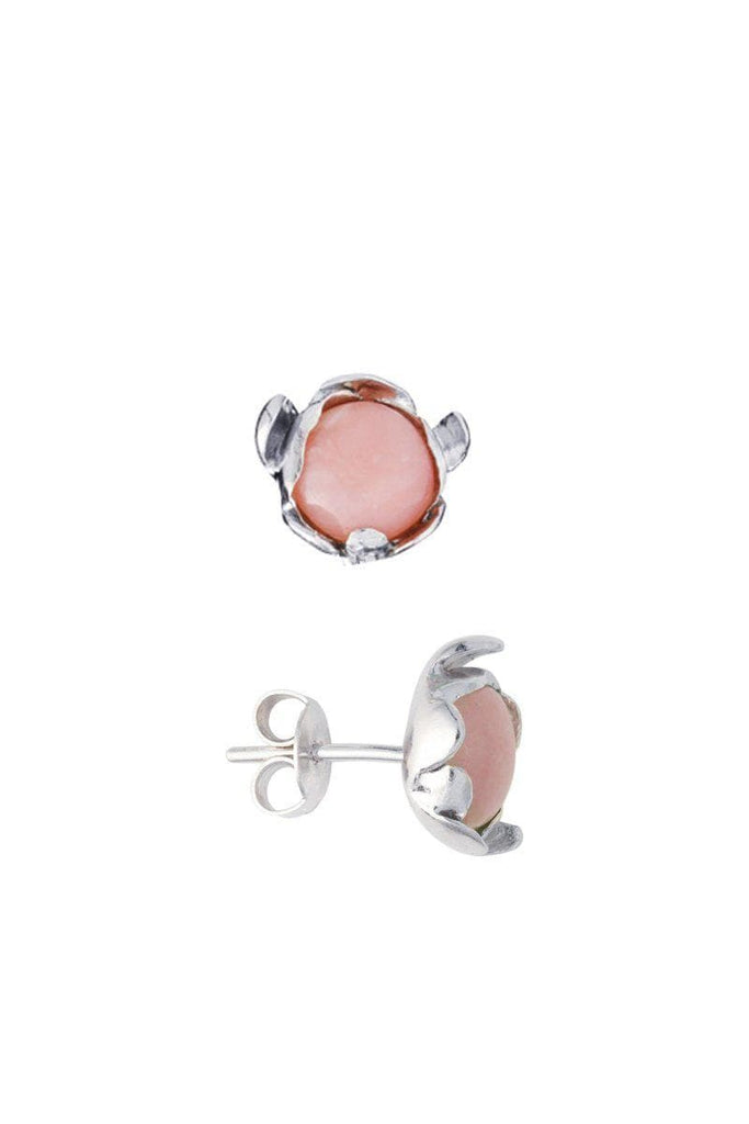 Blossom Recycled Silver Stud Earrings - Rose Agate