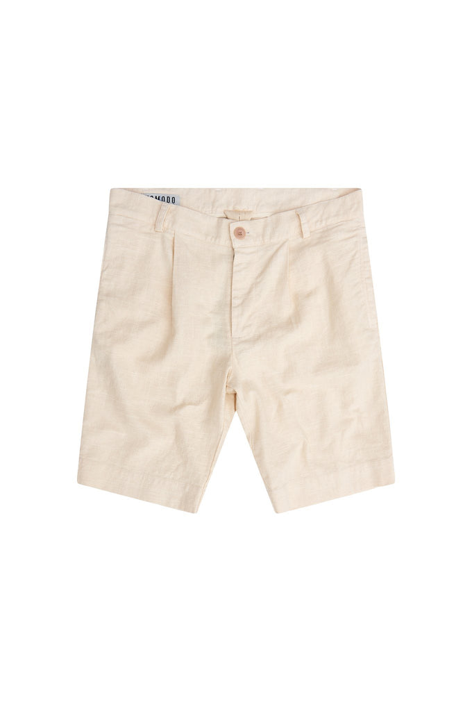 Bobby Organic Linen & Cotton Pleat Short in Warm Sand