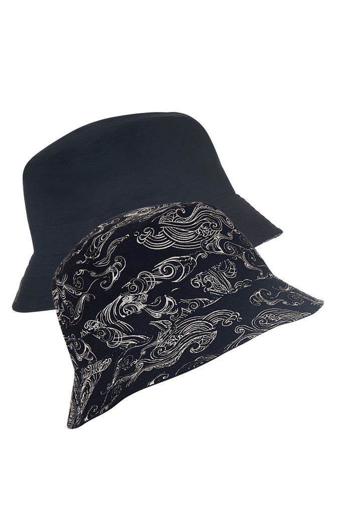 Bucky Vegan Linen Reversible Hat in Uluwatu Print & Black