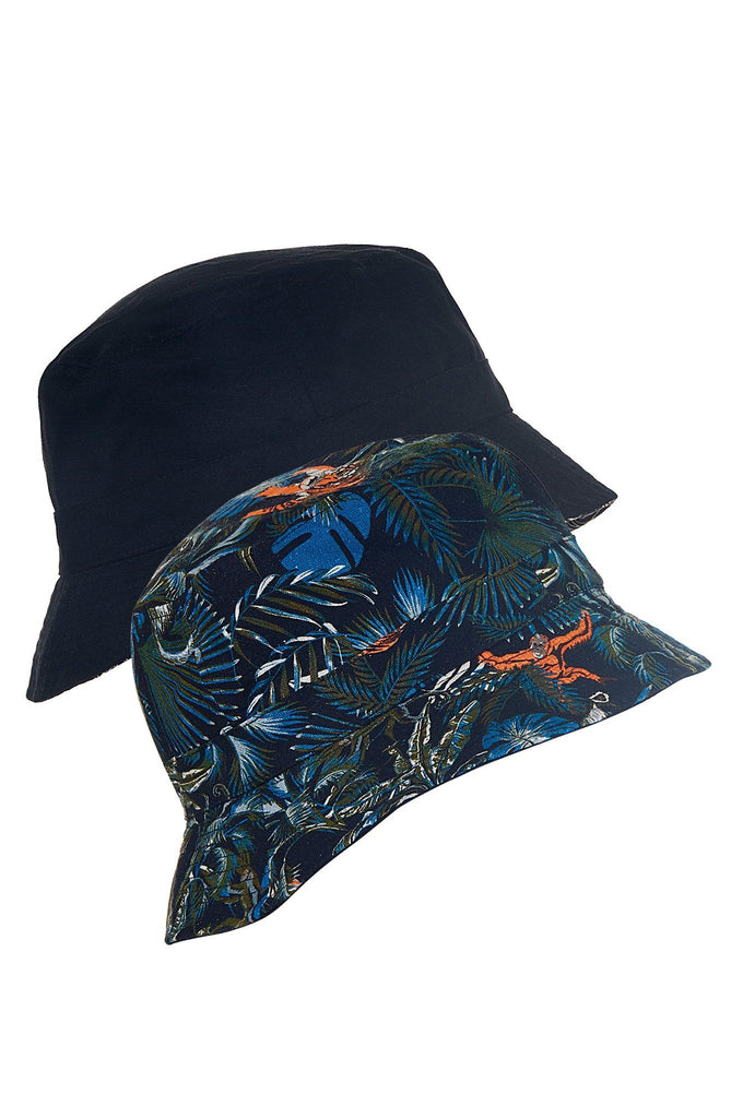 Bucky Vegan Linen Reversible Hat in SOS Print & Black